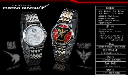 Citizen Chrono Limited Edition RX-0 Unicorn Gundam & MSN-06S Sinanju Watches