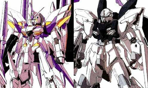 Gundam Delta Kai and Sinanju Stein from Gundam Unicorn PS 3 Game