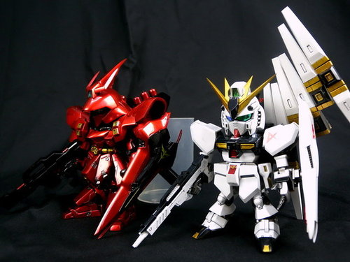 Bandai Gundam Model Kit - SD RX-93 Nu Gundam and MSN-04 Sazabi by B.A.R
